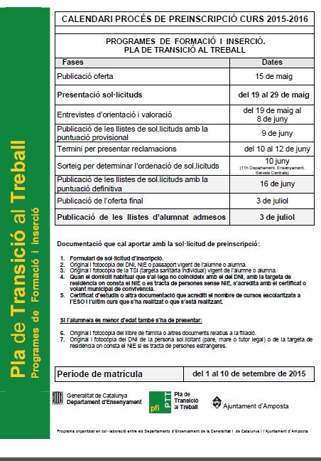 Programa de formaci i inserci pla de transici al treball for Oficina de treball amposta