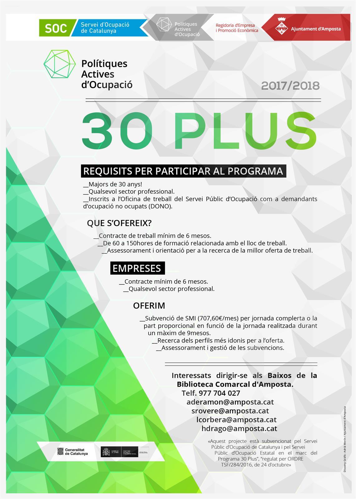 Ajuntament d´Amposta > Comunicació > El Programa 30 Plus oferirà 40 llocs de treball per a persones majors de 30 anys