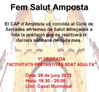 FEM SALUT AMPOSTA. Cicle de xerrades en temes de salut.