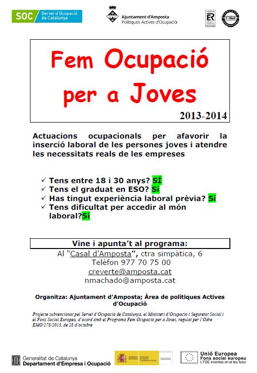 """Ajuntament d´Amposta > notícies > PROGRAMA """"FEM OCUPACIÓ PER A JOVES""""2013-2014"""