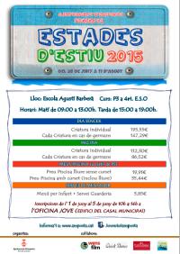 Inscripcions a les Estades d�Estiu 2015
