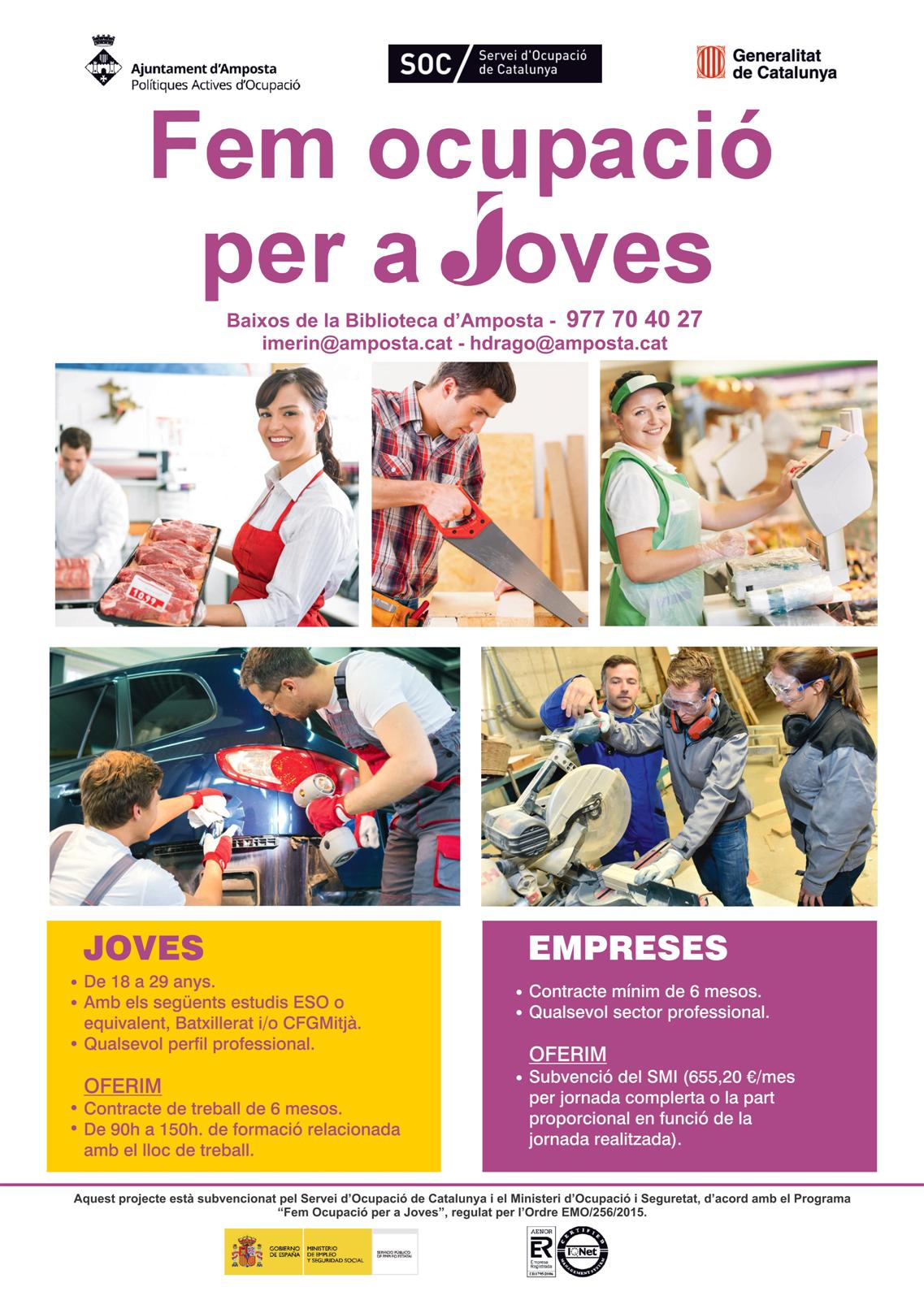 Ajuntament d'Amposta > notícies > Fins a 114 joves podran participar als nous programes de formació i treball del SOC a Amposta