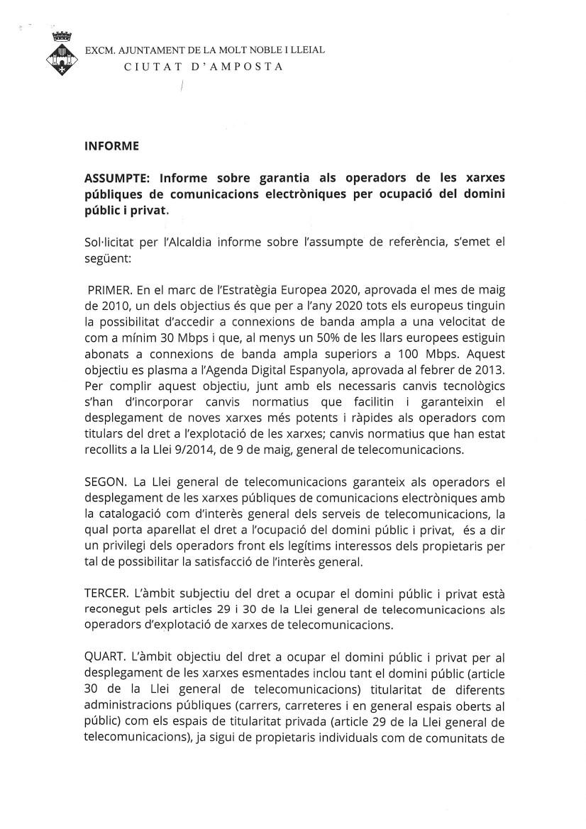 Ajuntament d´Amposta > Informació Oficial > Informe sobre garantia als operadors de les xarxes públiques de comunicacions electròniques per ocupació del domini públic i privat