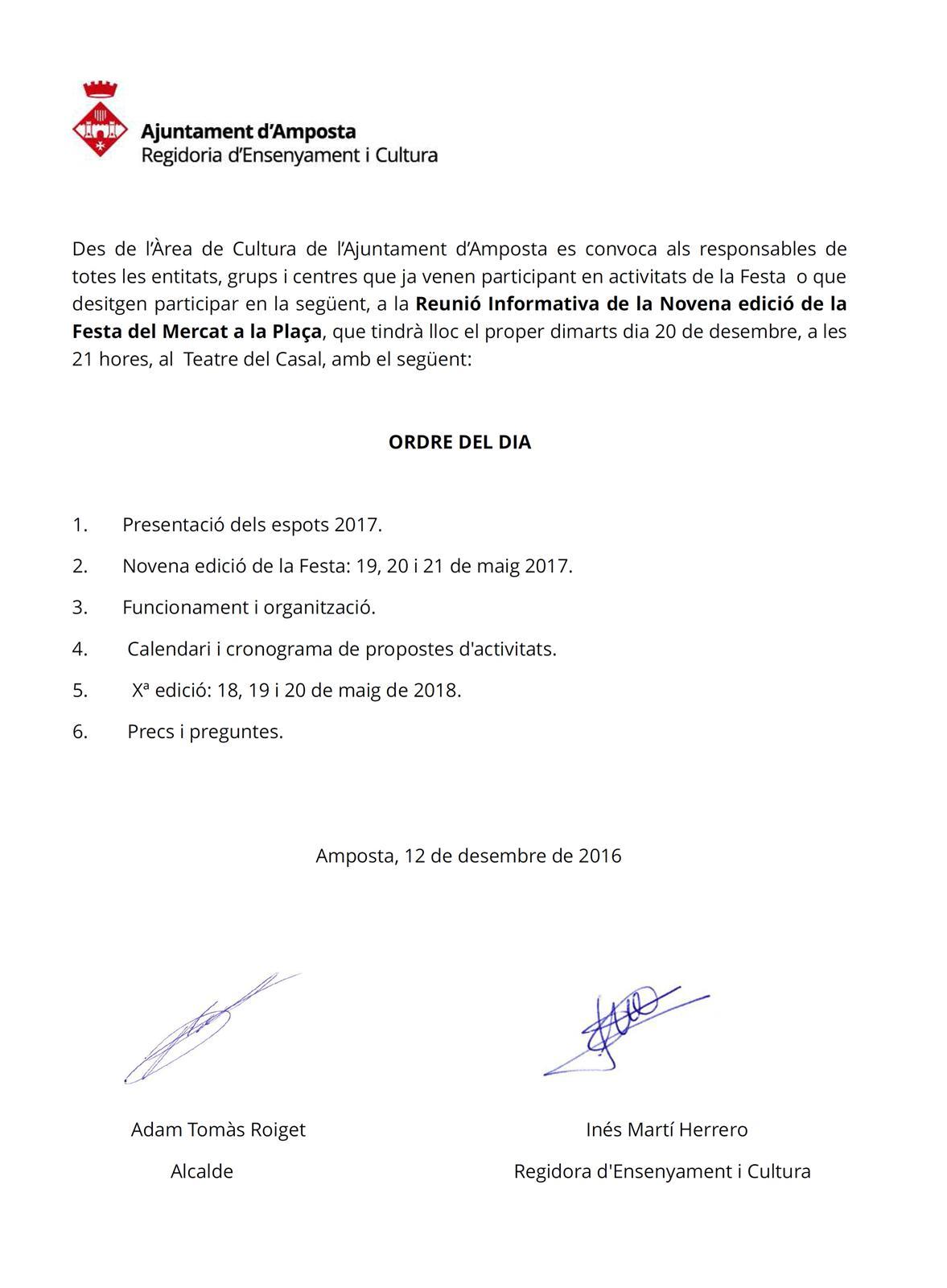 Ajuntament d´Amposta > Informació Oficial > Reunió Informativa de la Novena edició de la Festa del Mercat a la Plaça