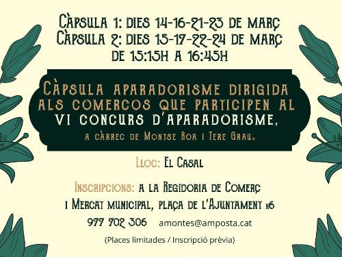 Càpsula formativa d'Aparadorisme per als participants al Concurs d'aparadors de la Festa del Mercat