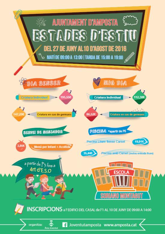 Ajuntament d´Amposta > Informació Oficial > Inscripcions a les Estades d'Estiu 2016