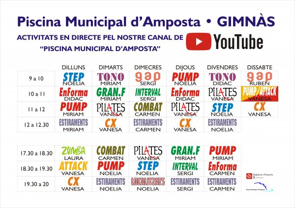 COVID-19: El gimnàs municipal començarà classes en directe a través de YouTube